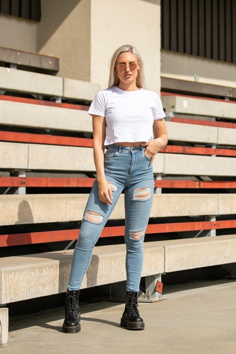 Weightless Caressa High Waist Ripped Jeans Light Blue