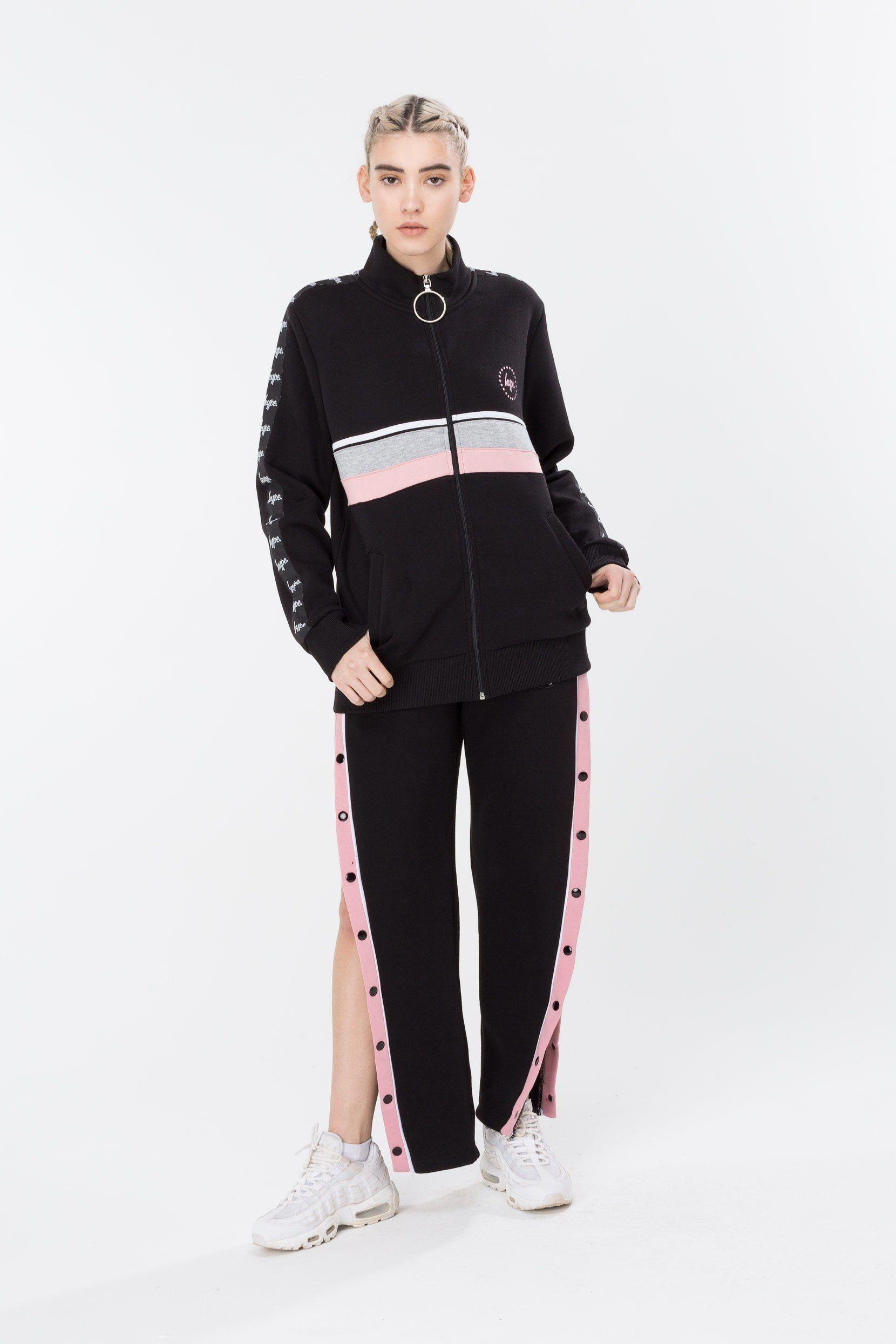 HYPE Black/Grey/Pink Taping Women's Track Jacket