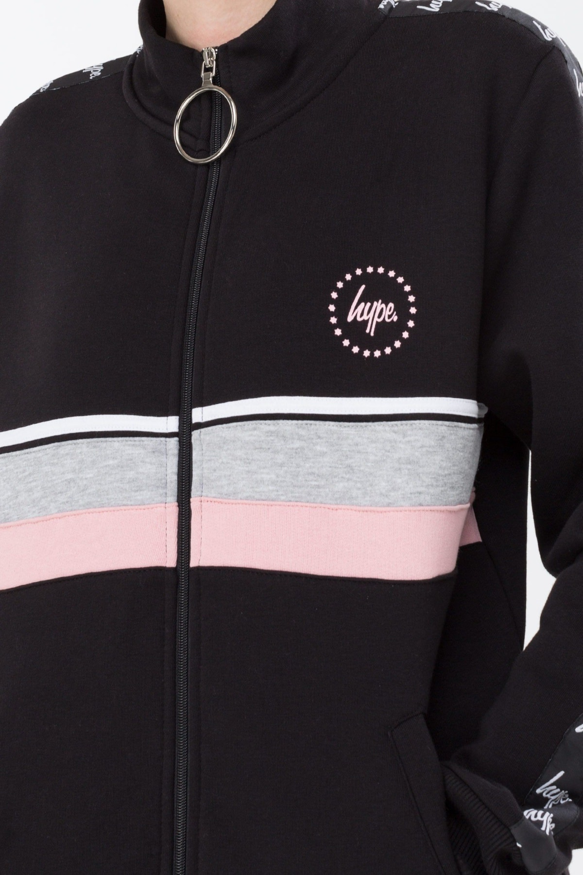 HYPE Black/Grey/Pink Taping Women's Track Jacket