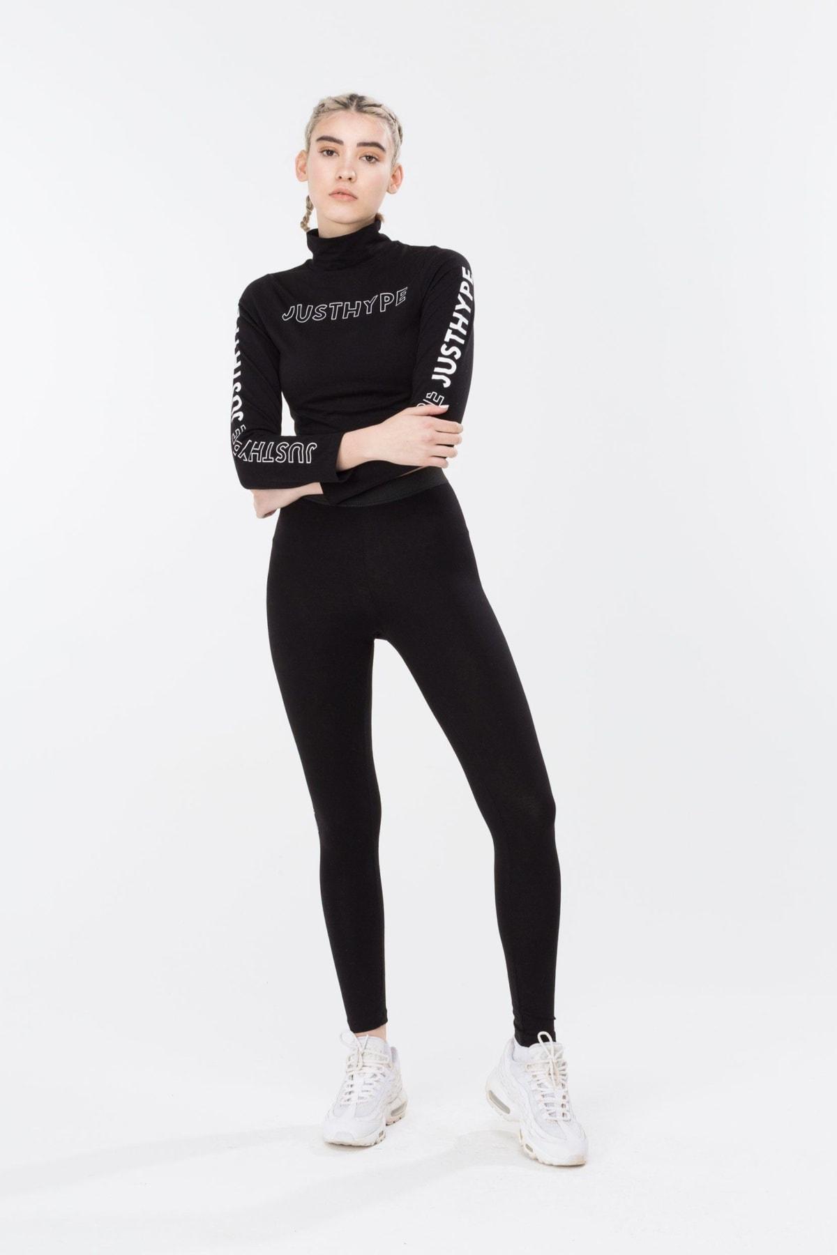 HYPE Black/White High Neck Women's L/S Crop Top