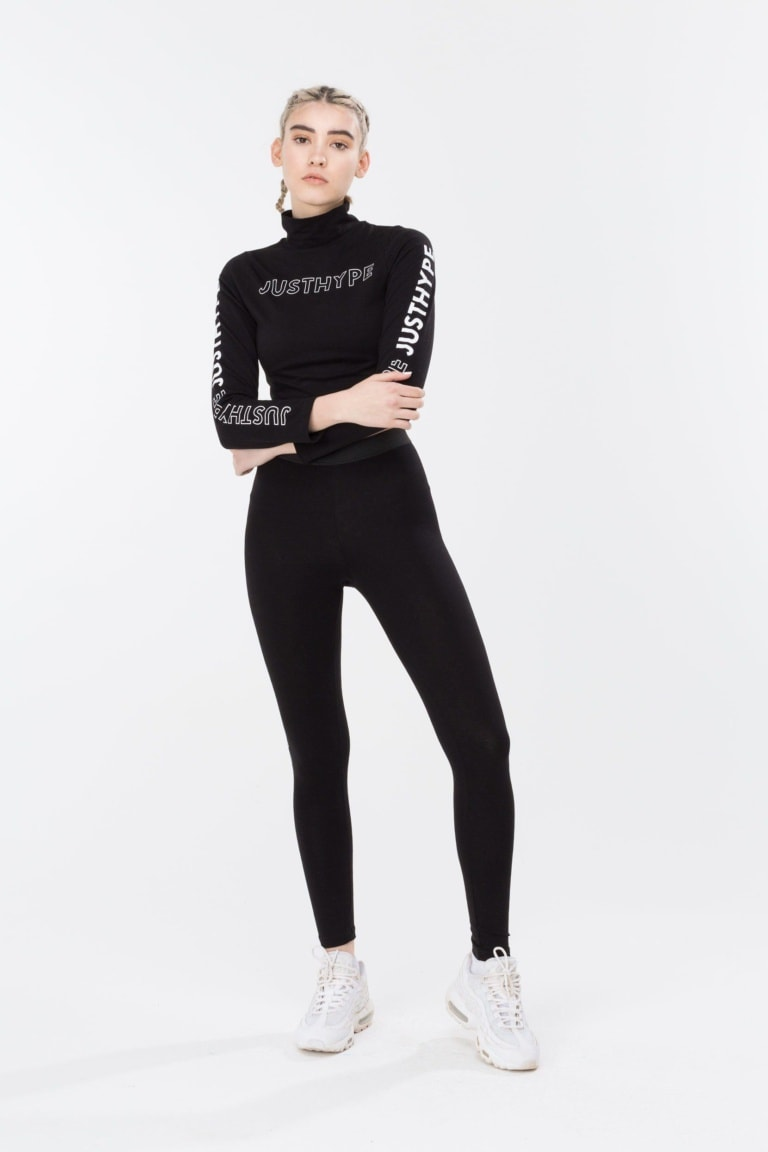 HYPE Black/White High Neck Women's L/S Crop Top
