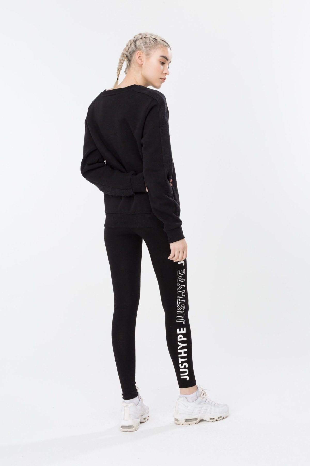 HYPE Black/White Justhype Women's Crewneck