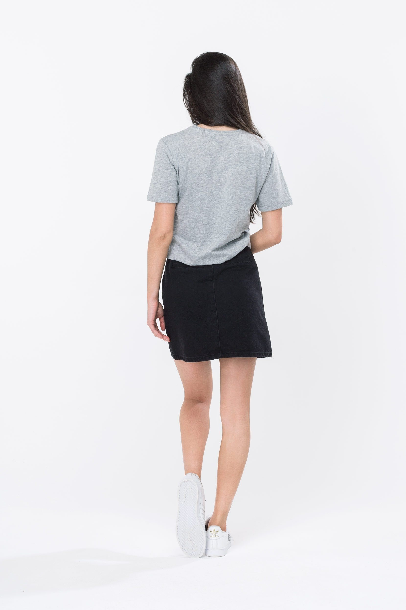 HYPE Grey/Black Hype Script Women's Crop T-Shirt