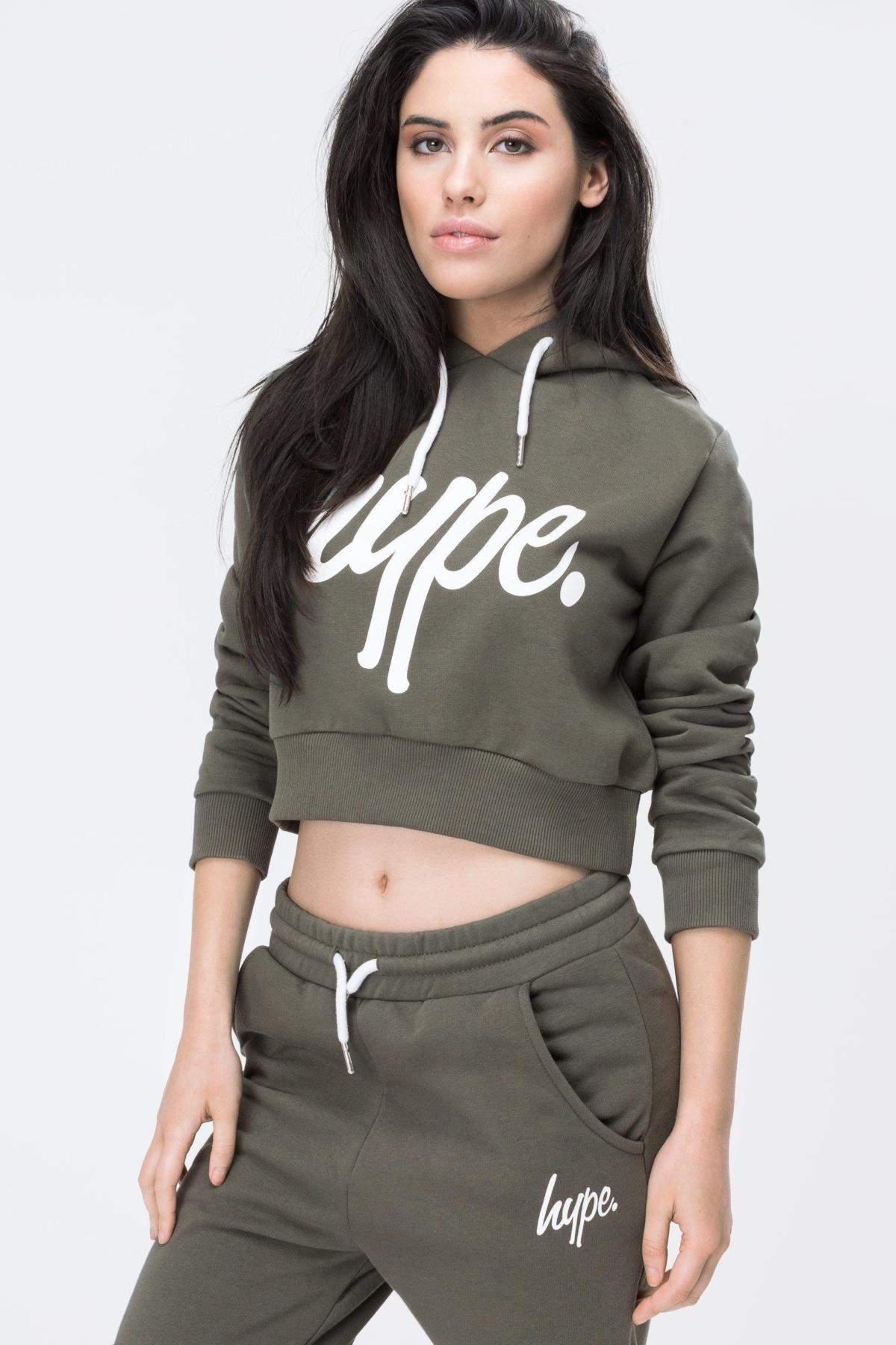 HYPE Khaki/White Hype Script Women's Crop Hoodie