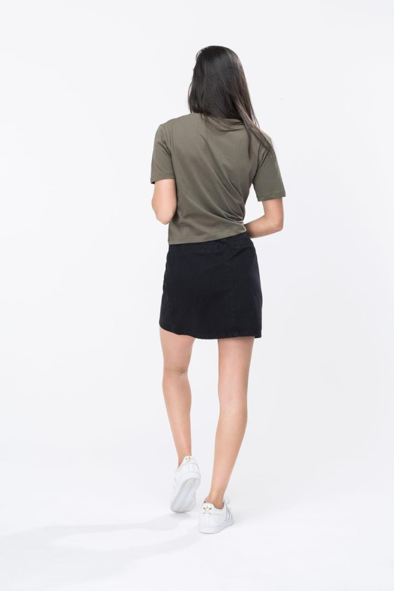 HYPE Khaki/White Hype Script Women's Crop T-Shirt