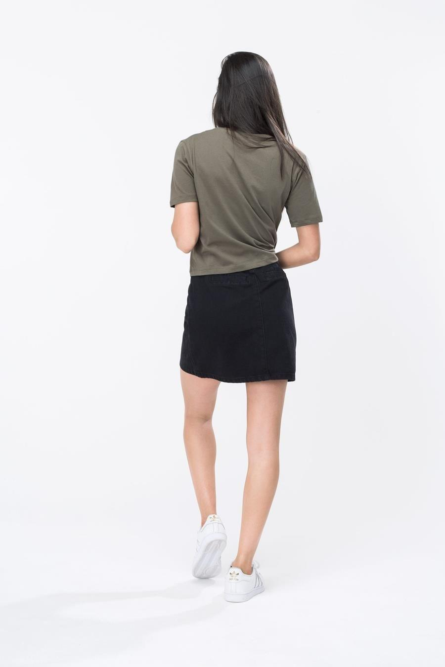 HYPE Khaki/White Hype Script Women's Crop T-Shirt