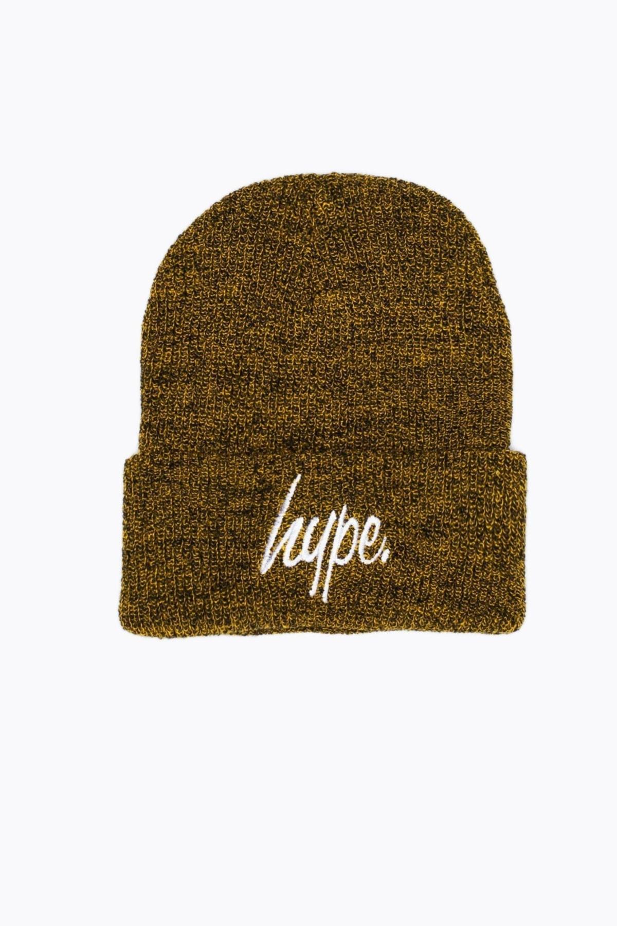 HYPE Mustard Marl/White HYPE Script Beanie