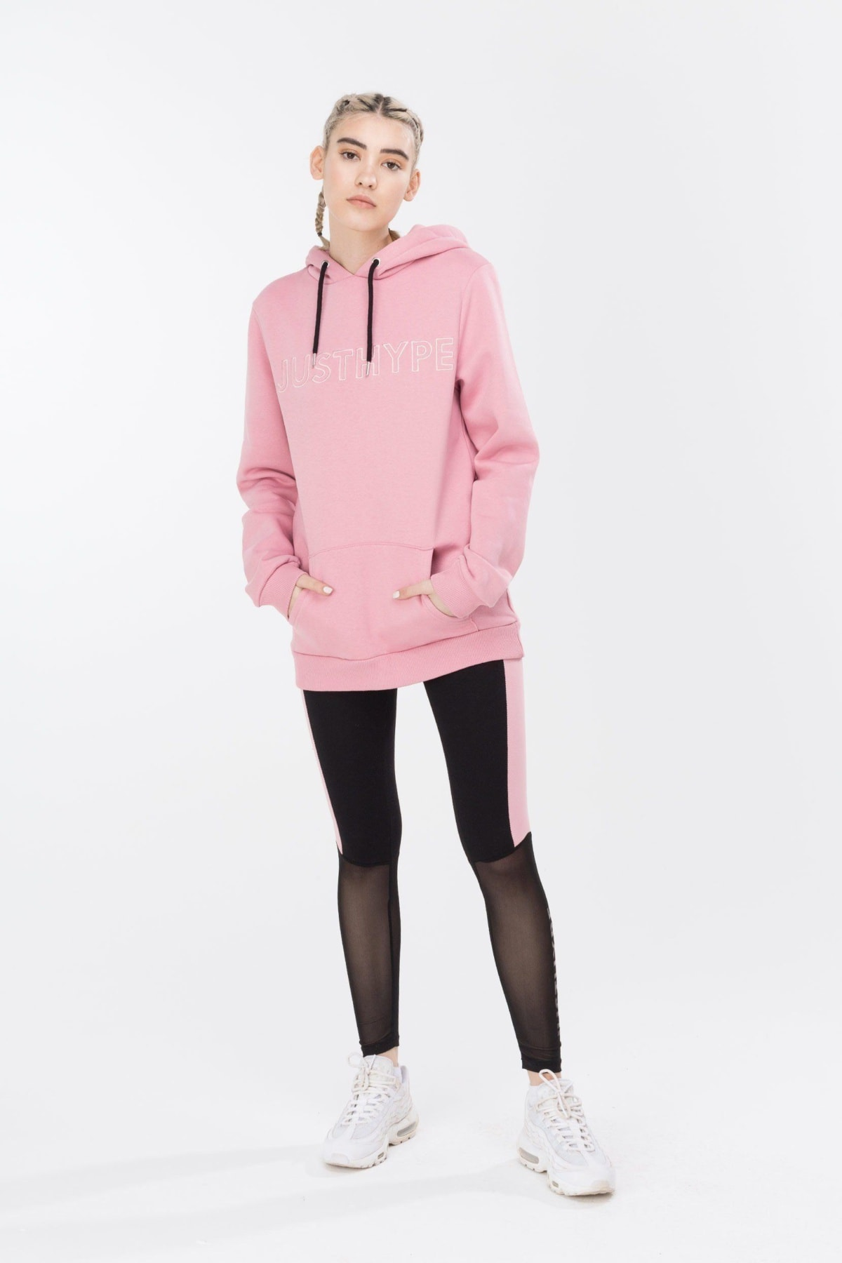 HYPE Pink/Pink Embroidered Women's Pullover Hoodie