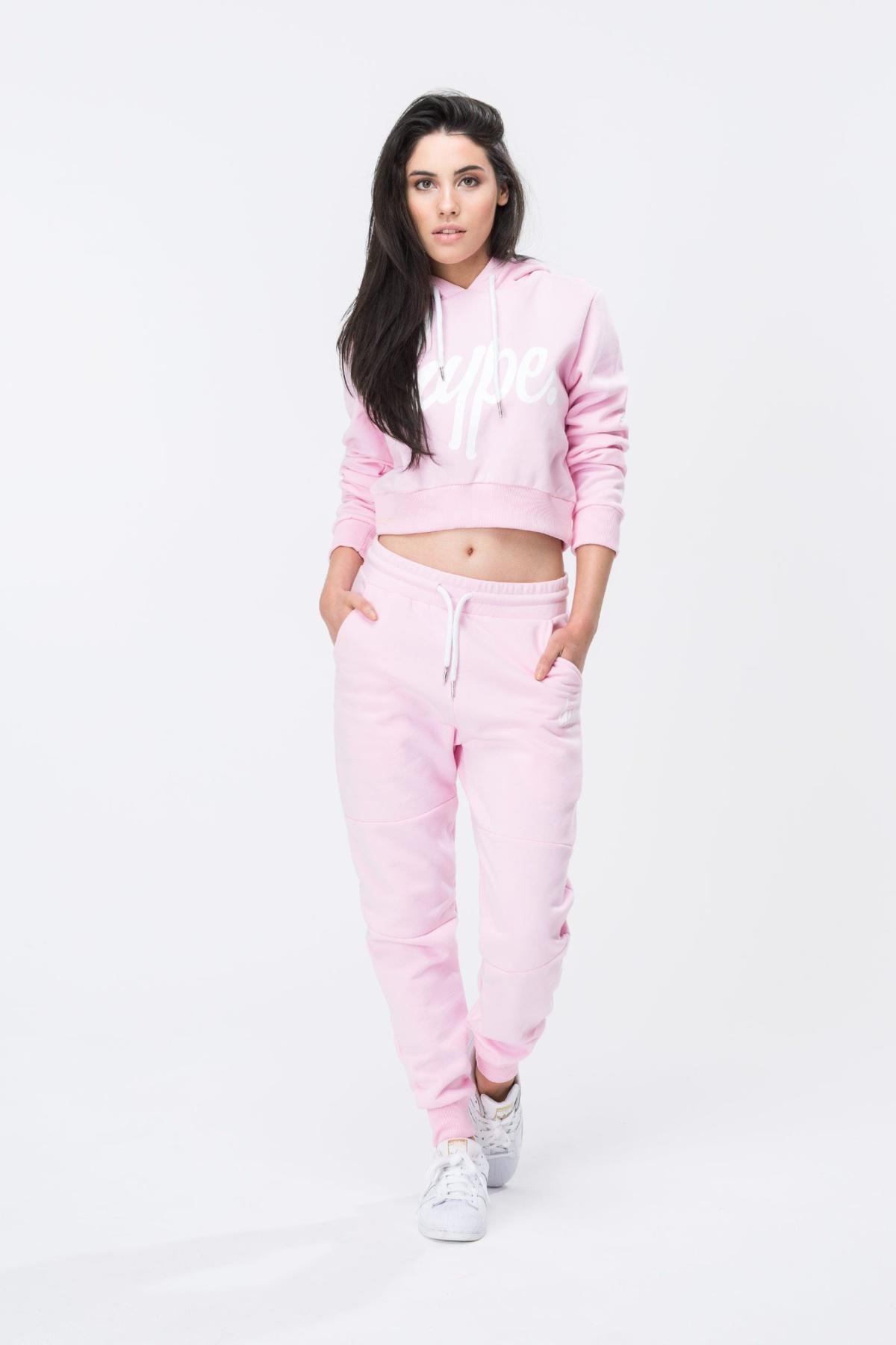 HYPE Pink/White Hype Script Women's Crop Hoodie