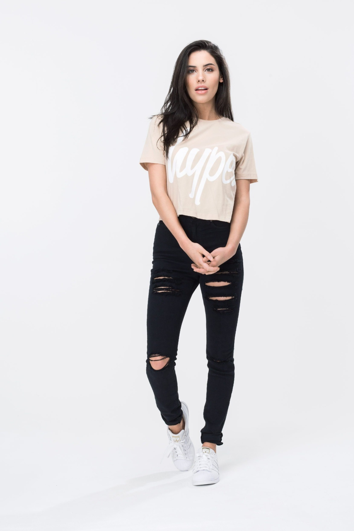 HYPE Sand/White Hype Script Women's Crop T-Shirt