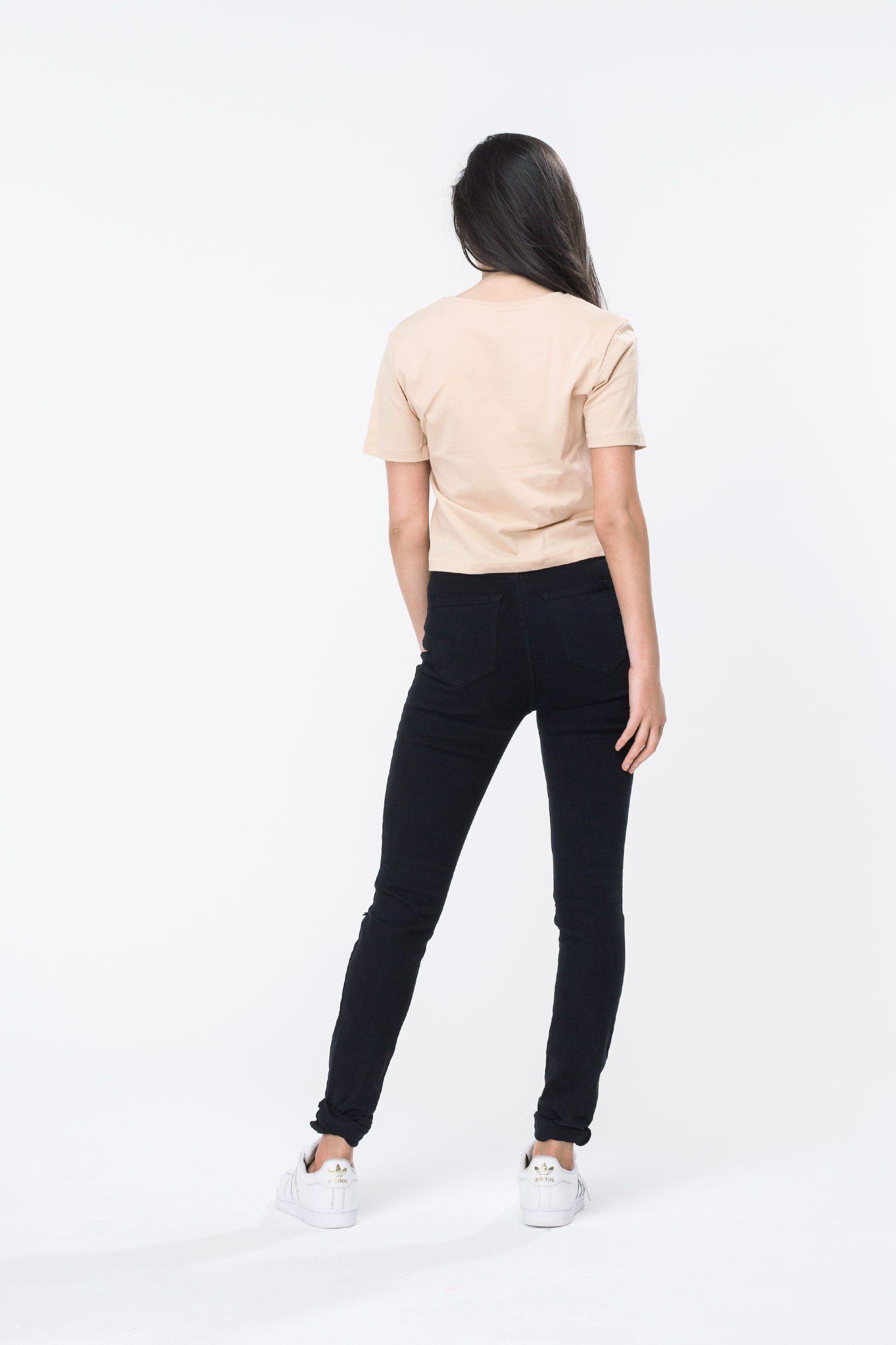 HYPE Sand/White Hype Script Women's Crop T-Shirt