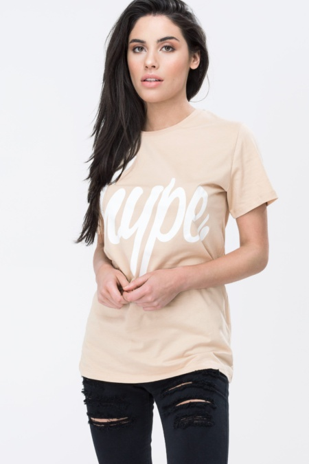 HYPE Sand/White Hype Script Women's T-Shirt