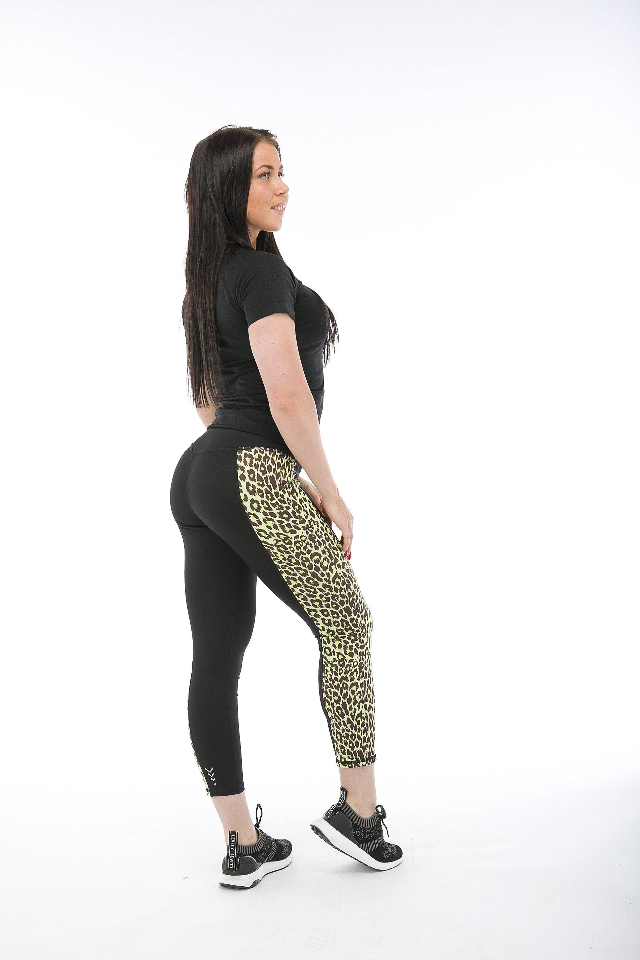 Superfit Ankle Tights Leopard Panel Yellow
