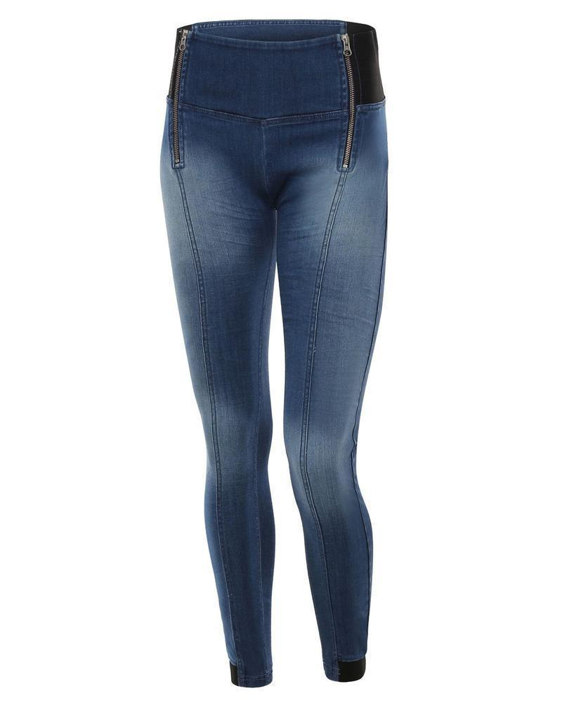 WR.UP® Shaping Jeans Skinny High Dark Blue + Front Zip