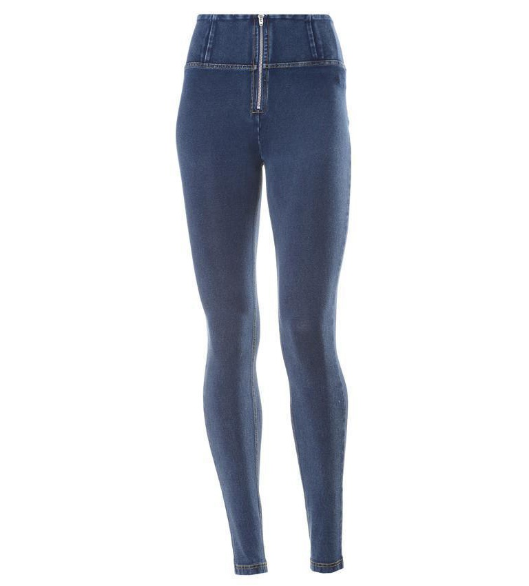 WR.UP® Shaping Jeans Skinny High Dark Blue + Yellow Stitching