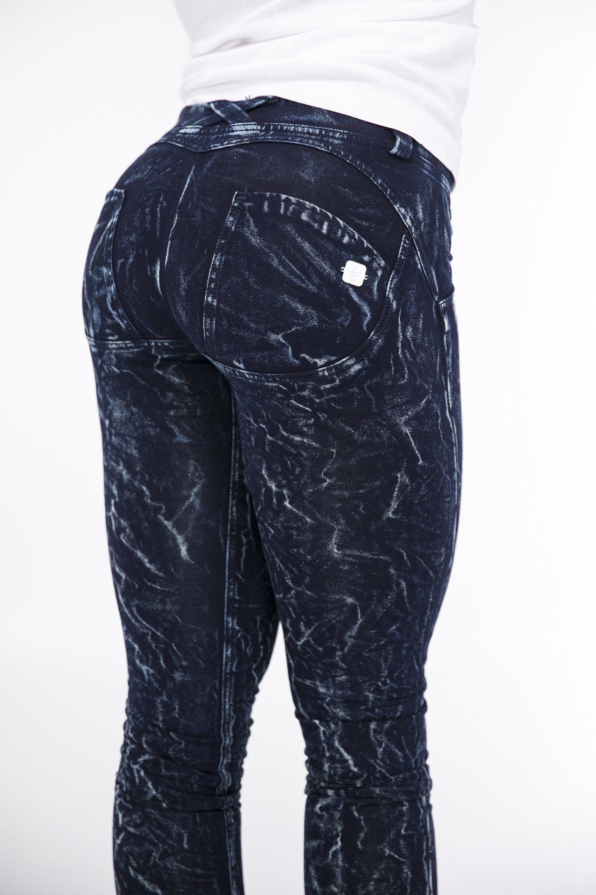 WR.UP® Shaping Jeans Skinny Low Tie Bleached Dark Blue
