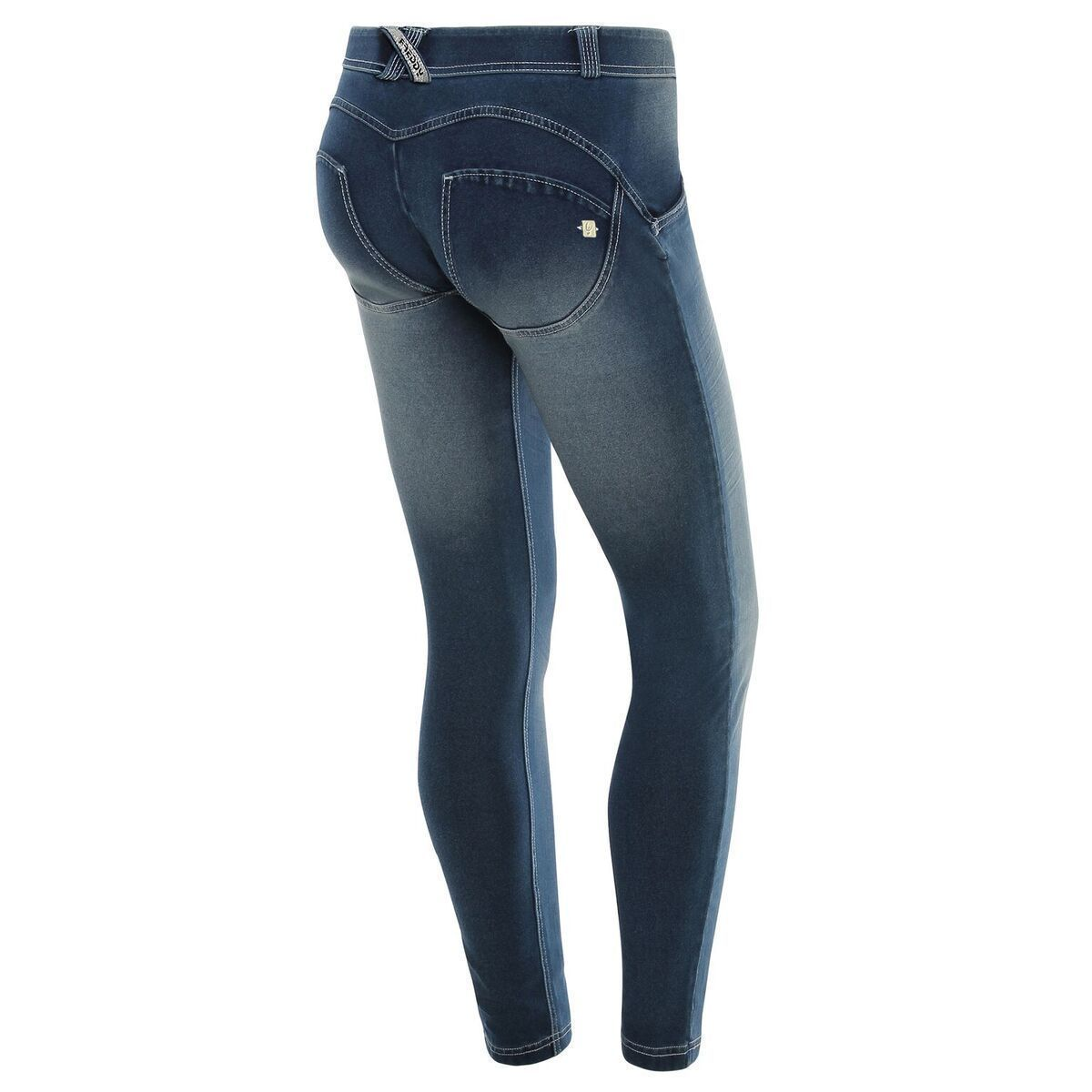 WR.UP® Shaping Jeans Skinny Mid Dark Blue + Crinkle Effect + white stitching