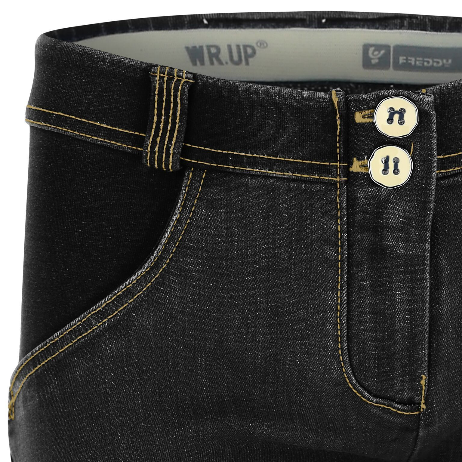 WR.UP® Shaping Jeans Skinny Mid Distressed Denim Front Black