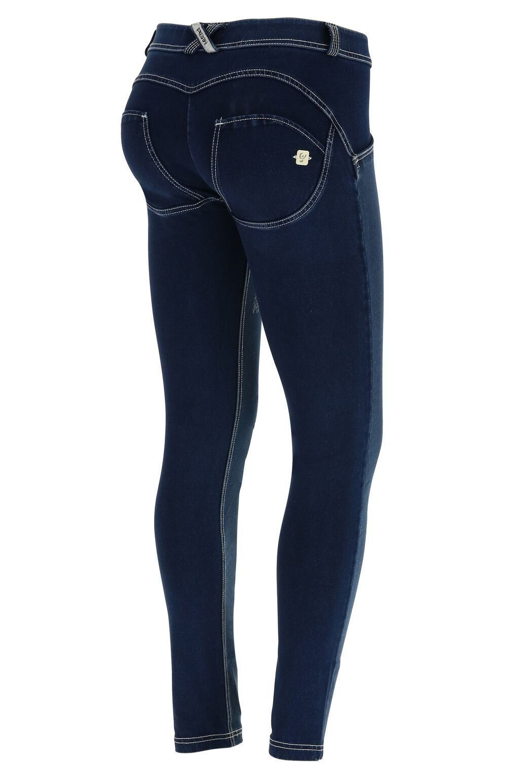 WR.UP® Shaping Jeans Skinny Mid Distressed Denim Front Dark Blue + White Stitching