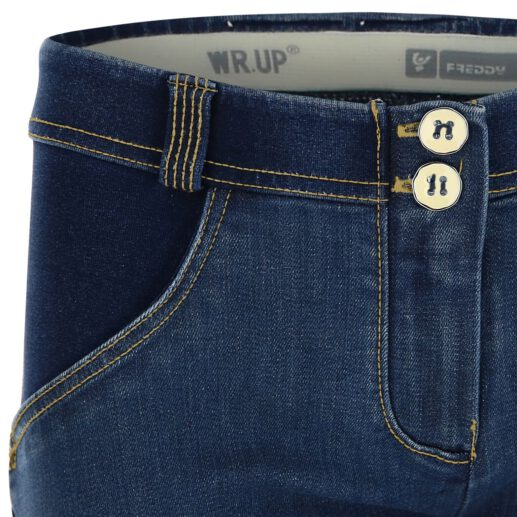 WR.UP® Shaping Jeans Skinny Mid Distressed Denim Front Dark Blue + Yellow Stitching