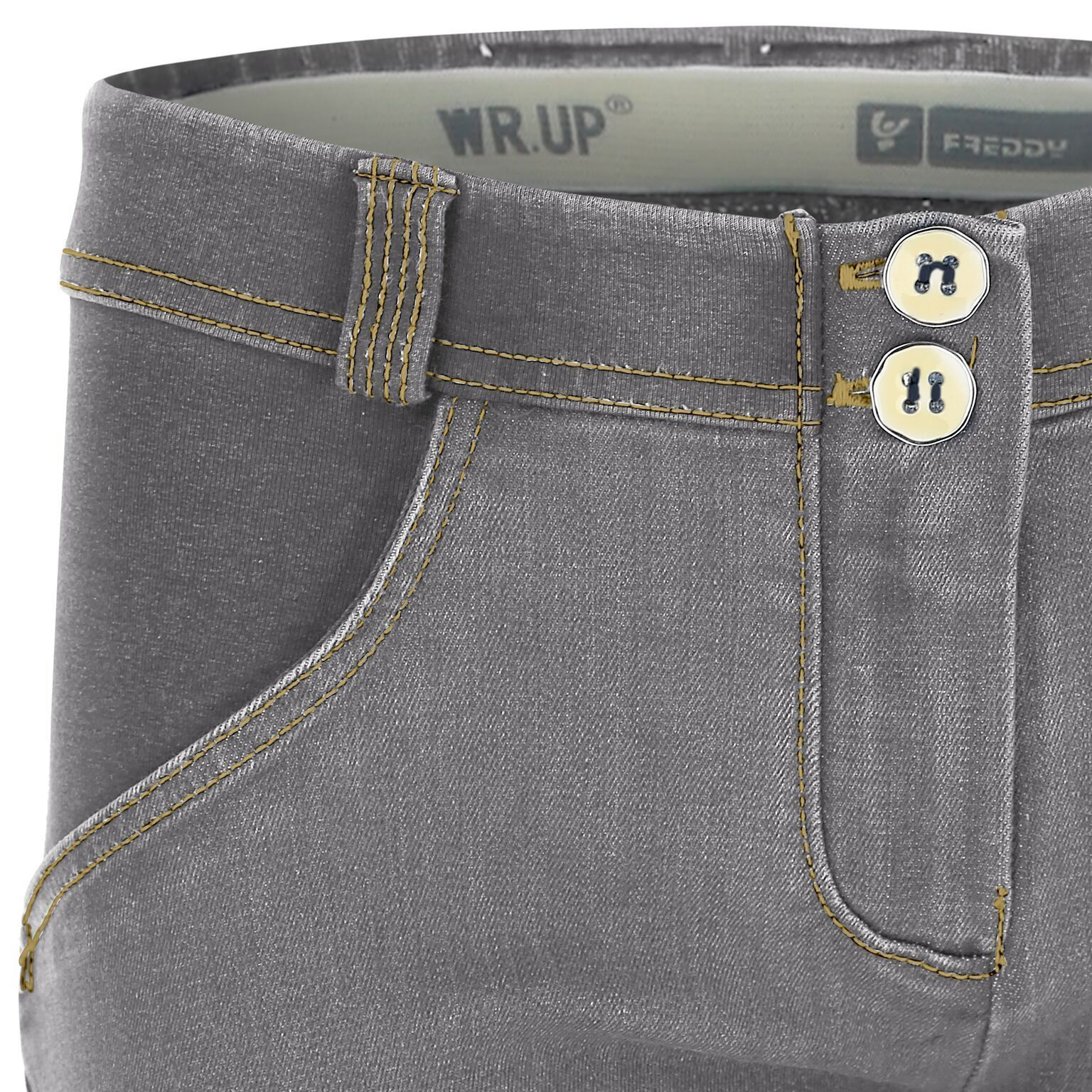 WR.UP® Shaping Jeans Skinny Mid Distressed Denim Front Grey