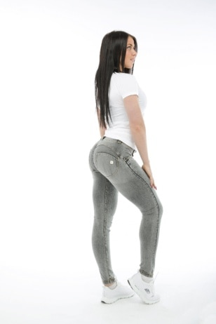 WR.UP® Shaping Jeans Skinny Mid Grey + White Whiskering